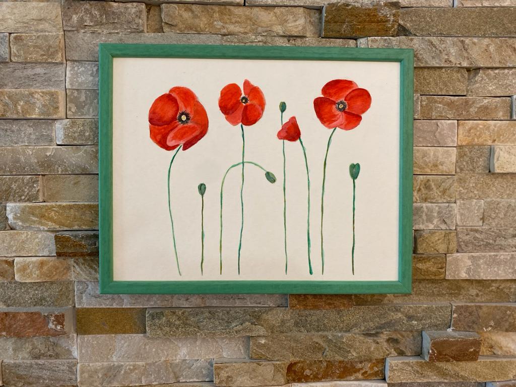 Tablou cu flori în acuarelă, design minimalist. Tablou înrămat