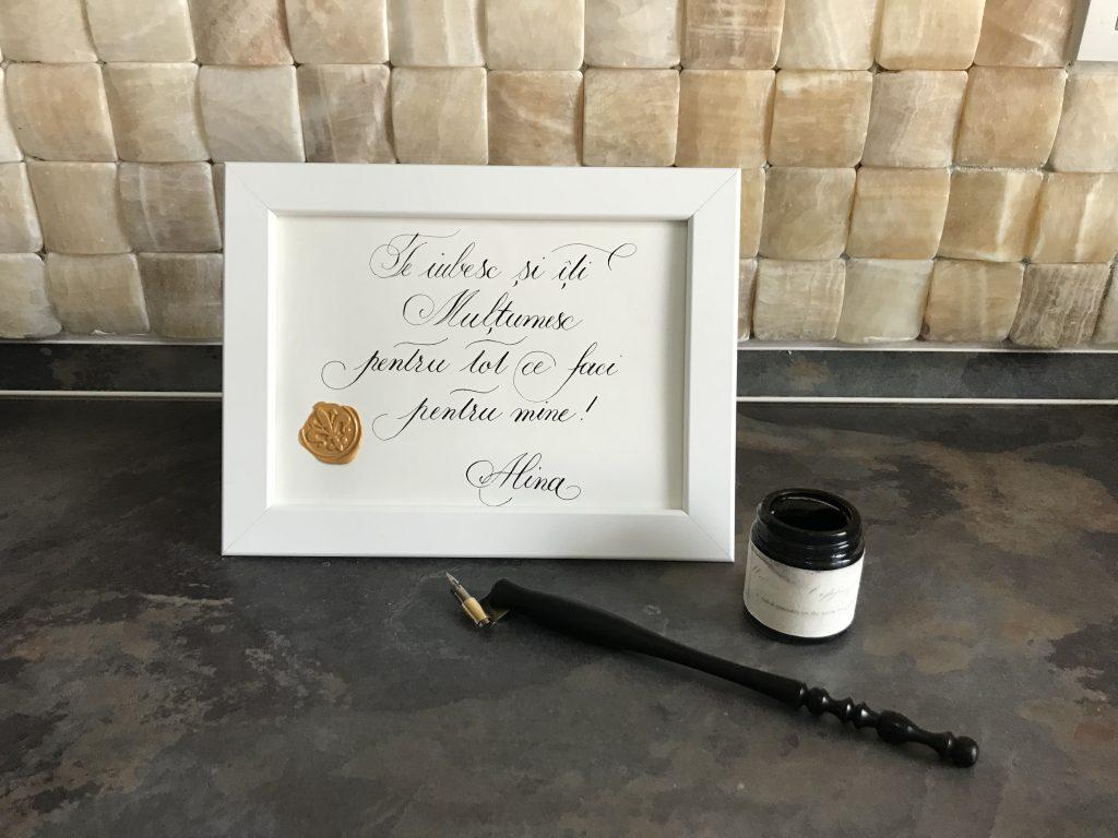 Tablou înrămat, lucrare în caligrafie Copperplate