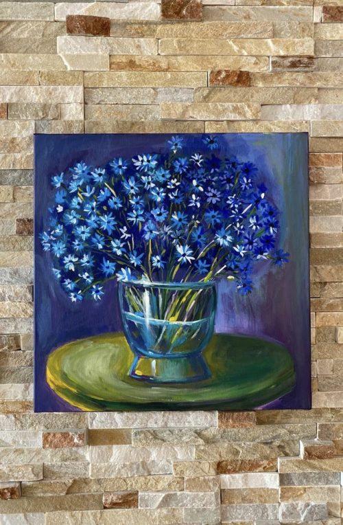 Tablou cu flori - acrilic pe pânză, 50x50 cm