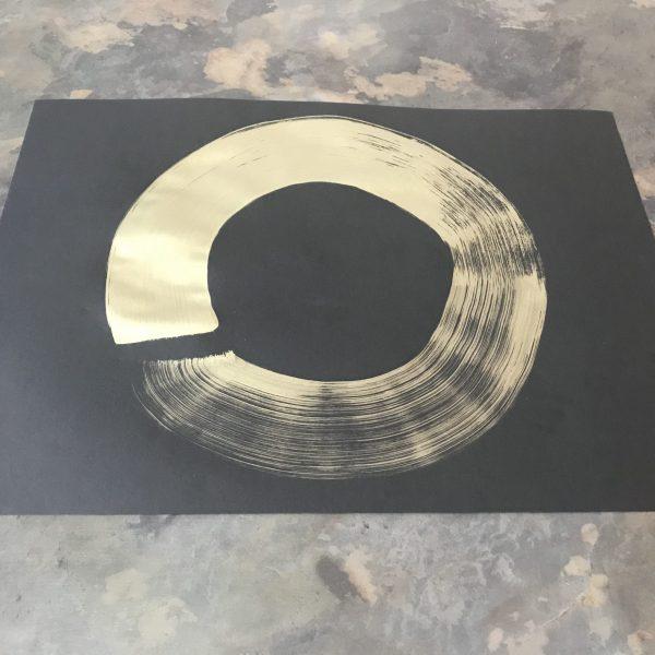 Tablou ZEN - Simbolul ENSO, lucrare în guașă pe hârtie Canson 50x70 cm