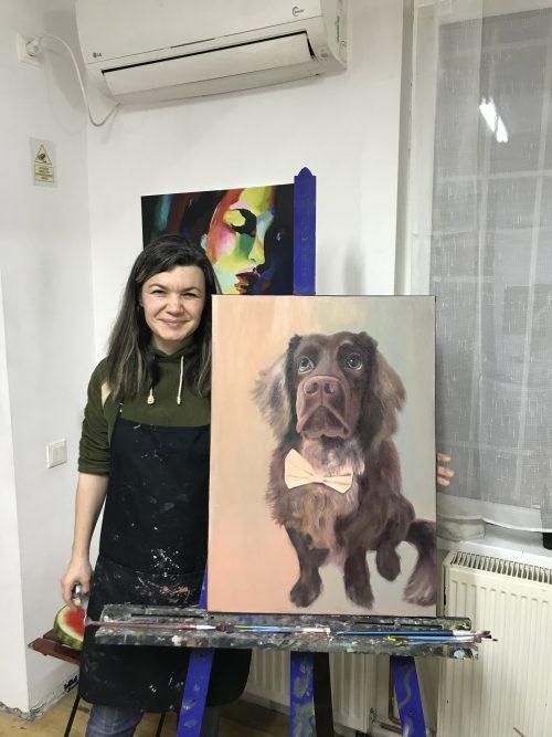 Cățelul Mousse - tablou în ulei 50x70 cm