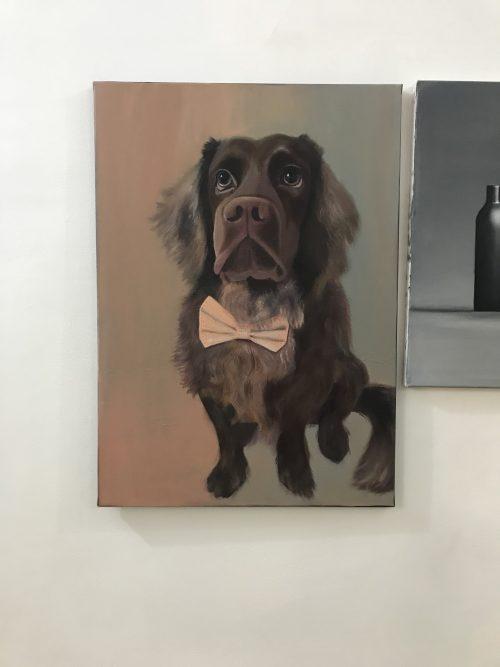 Mousse - portret de cățel în ulei pe pânză pe șasiu, 50x70 cm
