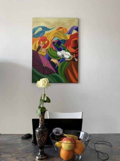 Tablou mare living, pictură în ulei, 70x100 cm