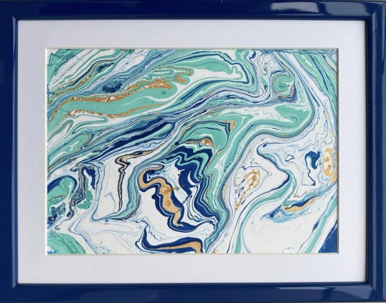 DUNE - tablou abstract cu ramă din lemn și paspartu, 21x27 cm