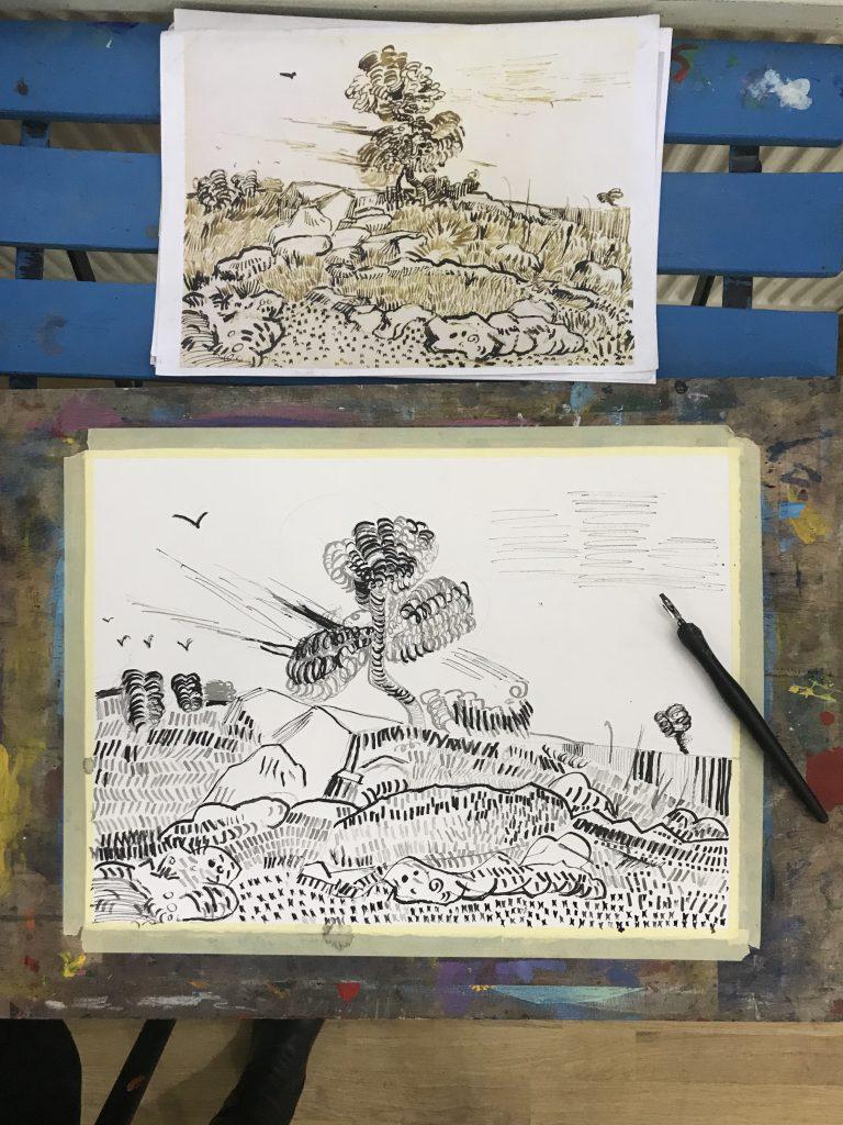 Peisaj în tuș - peniță, reproducere după o lucrare în tuș Van Gogh