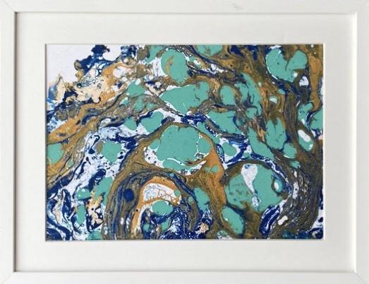 SALBA DE LACURI TURCOAZ - tablou abstract cu ramă din lemn și paspartu, 21x27 cm