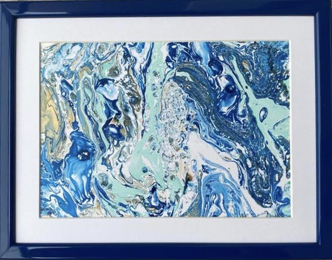 VALURI - tablou abstract cu ramă din lemn și paspartu, 21x27 cm