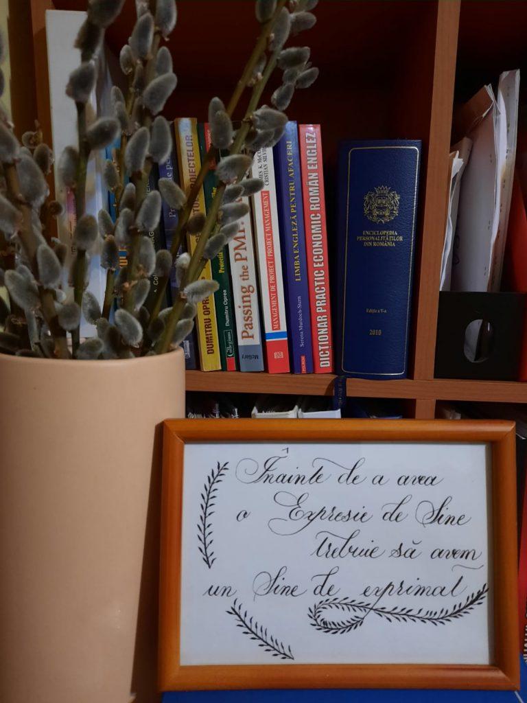 Tablou înrămat cu mesaj în caligrafie
